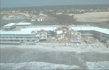 Hurricane Opal's 8 to 14 foot storm surge damaged hundreds of structures along the Florida Panhandle in October 1995. (Photo courtesy UACE 1995).