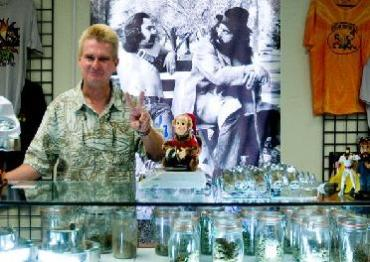 Charles Ziegenfelder, owner of PB 420 Cheech & Chong Headquarters, poses for a portrait just minutes before being informed that raids are being conducted at dispensaries in the area. Photo: Sam Hodgson. Courtesy www.voiceofsandiego.org